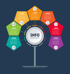 business infographics concept with 7 options info vector image