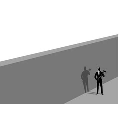 Businessman standing near wall with a hammer vector