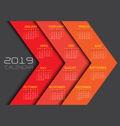 Calendar 2019 yellow white text number on red vector