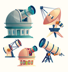 cartoon set with astronomical equipment vector image