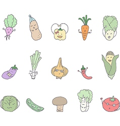 Cartoon vegetables set vector image