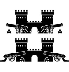 Castle and guns with kernels vector