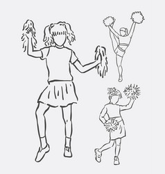 cheerleader action sketches vector image vector image