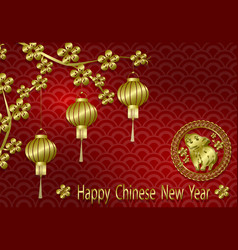 chinese new year stylized copper brass lanterns vector image