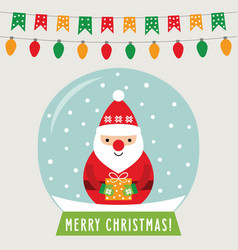 christmas glass ball with santa claus greeting vector image