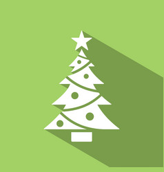christmas tree icon with star and shade color vector image