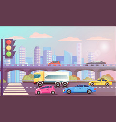cityscape highway with traffic lights road street vector image