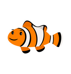 Clown fish underwater swimming funny smiling vector