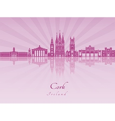Cork skyline in purple radiant orchid vector image