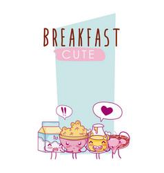 cute breakfast ingredients kawaii cartoon vector image