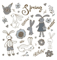 Cute hand drawn spring collection with rabbits and vector image