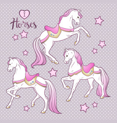 Cute horses and stars set hand drawn design for vector
