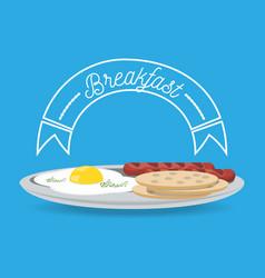 delicious breakfast dish menu restaurant vector image
