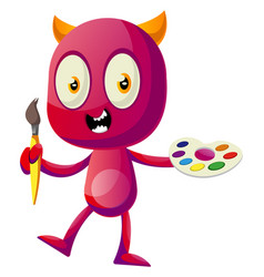 devil holding color palette on white background vector image