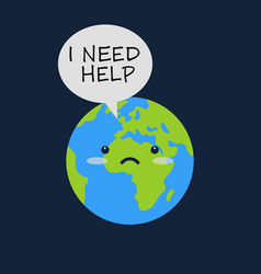 earth with sad emoji face and message bulb says i vector image