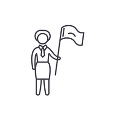 female target line icon concept female target vector image