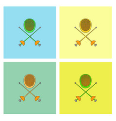 Fencing equipment set vector
