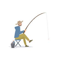 Fisherman sitting on folding chair beside a bucket vector
