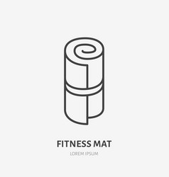 fitness mat roll flat line icon yoga carpet vector image