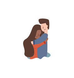 flat african american hugs a guy students vector image