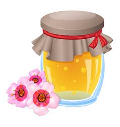 Flower honey jar icon cartoon style vector