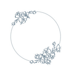 frame wreath with flowers and branches decor vector image