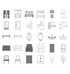 Furniture and interior monochromeoutline icons in vector