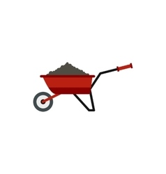 Garden wheelbarrow with earth icon flat style vector