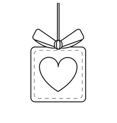 gift box heart love present hang line vector image