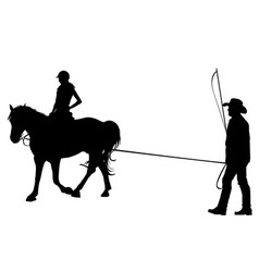 Girl riding on the horse with her trainer vector