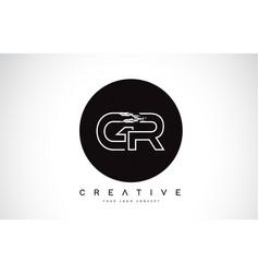 Gr modern leter logo design with black and white vector
