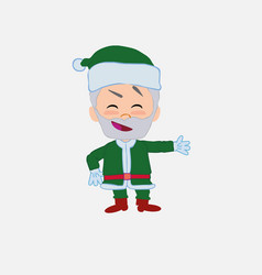 Green santa claus showing something in an vector