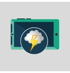 Green smartphone weather lightning cloud icon vector