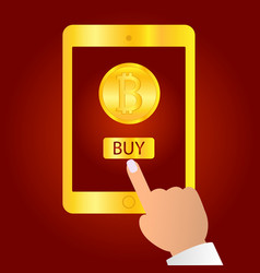 hand holding gold tablet device isolated on red vector image