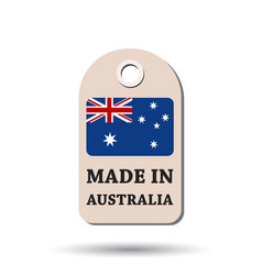 Hang tag made in australia with flag on white vector