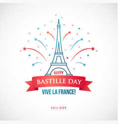 Happy bastille day 14 july national holiday vector