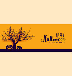 Happy halloween banner with scary tree and pumpkin vector