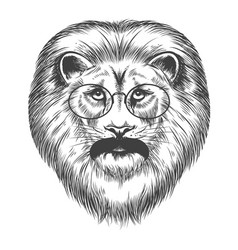 Hipster lion with mustache and eyeglasses vector