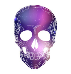 human skull with cosmic background cosmos and vector image