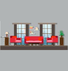 Interior living room home furniture design modern vector