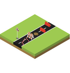 Isometric road repair vector image