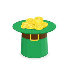 leprechaun hat with gold vector image