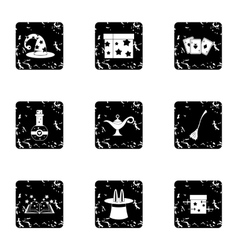 Magic icons set grunge style vector