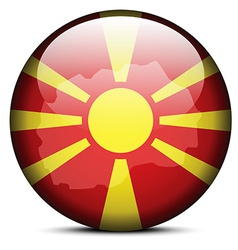 Map on flag button of Macedonia vector image