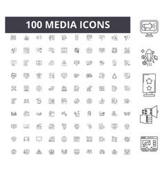 media line icons signs set outline vector image