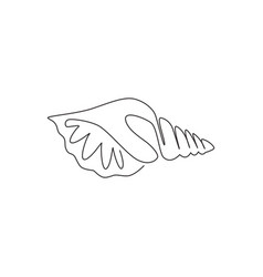 one continuous line drawing cute sea snail vector image