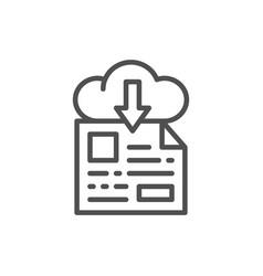 online file storage download line icon vector image