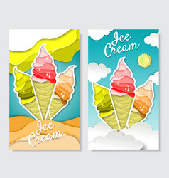 paper art style ice cream vertical banner vector image
