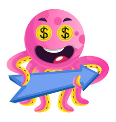 pink octopus with a direction sign on white vector image