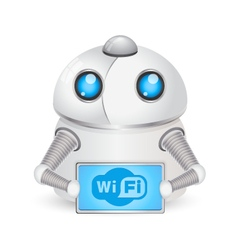 Robot and symbol Wi-Fi vector